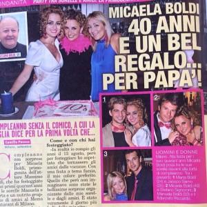 dal settimanale TOP n°39 del 2 Ottobre 2014: Micaela Boldi 40 anni e un bel regalo per papà
